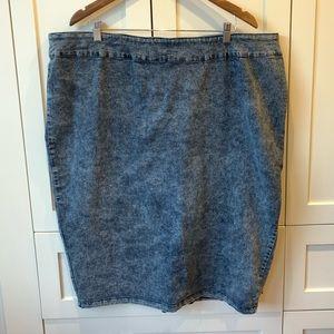 Love & Legend Denim Acid Wash Pencil Skirt